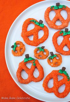 Creative Party Ideas by Cheryl: Chocolate Covered Pretzel Pumpkins (you could also cover the pretzels in white chocolate dyed with food coloring)