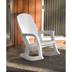 Outdoor rocking chairs may be made using several types of metals, woods, wicker, or resin. But there are only certain types of materials that will make the furniture piece look attractive and last long. Wood Adirondack Chairs, Adirondack Chair Plans Free, Patio Chairs, Wicker Rocking Chair, Outdoor Rocking Chairs, Storage Chair, Outdoor Seating, Outdoor Decor, Hanging Chair From Ceiling