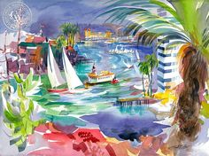 Ken Potter - Balboa Bay, 2005, California art, original California watercolor art for sale, fine art print for sale, giclee watercolor print - CaliforniaWatercolor.com