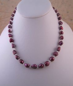 Dark Pink Potato Pearl and Rainbow Moonstone Short Necklace
