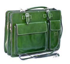 Kenneth Brownne Ladies Green Coloured Italian Leather Briefcase Satchel