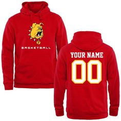 Ferris State Bulldogs Personalized Basketball Pullover Hoodie - Red