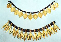 Mesopotamian 1 // Sumerian gold and faience diadems from Queen Pu-abi's tomb, Ur, c. 2500 bce. In the British Museum.