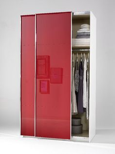 Lovely Welle Mobel Plus Slider Level Sliding Wardrobe Ruby Red High Gloss