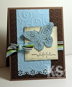 Butterfly brown and blue card