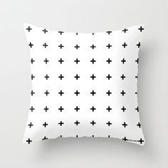 Black Cross on White // Black Plus on White Throw Pillow by Pencil Me In ™ - $20.00