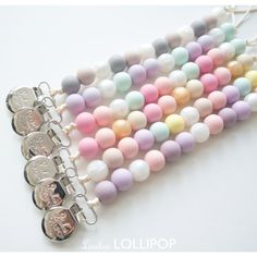 GIRL Lolli Silicone Bead Pacifier Clip - soother, teether, gift, baby shower, teething accessories