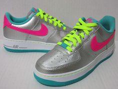 NIKE AIR FORCE 1 LOW (GS) Girls SZ.6Y Mtllc Slvr/Hypr Pink/Jade 314219 011 #Nike #Basketball