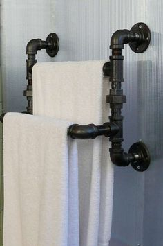 Steel Pipe Towel Rack by SteelGoods on Etsy, $125.00 --- I would love to make this for my bathroom!