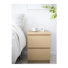 "IKEA - MALM, 2-drawer chest, black-brown, 15 3/4x21 5/8 "", , Can also be used as a nightstand.Real wood veneer will make this chest of drawers age gracefully.Smooth running drawers with pull-out stop."
