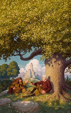 GREG HILDEBRANDT (1939) and TIM HILDEBRANDT (1939 - 2006) J .R. R. Tolkien: Architect of Middle Earth, book cover, 1977