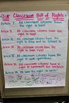 """Create a classroom ​constitution or ​bill of rights.""  Work as a class to create a classroom constitution or ​bill of rights. Have students work together to brainstorm their most important guidelines for a successful learning community. Once students have decided on the five or six most important points, write them in a pledge form on posterboard. Have all students sign the pledge and hang it on the wall where the students can see it.""…"