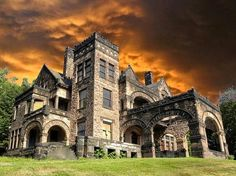 Built in 1880 Victorian Stone Manor Built In Sharon, Pennsylvania features 22 rooms and 8 fireplaces, covering over 16,000 square feet.