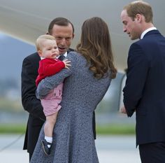Prime Minister Tony Abbott farewells Catherine, Duchess of Cambridge and Prince William, Duke of Cambridge, with Prince George at RAAF base . Princess Kate, Princess Charlotte, William Kate, Prince William, Duchess Kate, Duke And Duchess, Prince George Alexander Louis, Tony Abbott, Anzac Day