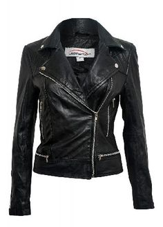 Leather Biker Jacket - Size: Size 8 The womens Leather Biker Jacket is a high quality, real leather jacket. With a diagonal zip front, zipped pockets, decorative zips on the hem and warm quilted panels on the chest this badass jacket is http://www.MightGet.com/february-2017-3/leather-biker-jacket--size-size-8.asp