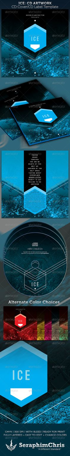 Buy ICE CD Cover Artwork Template by SeraphimChris on GraphicRiver. This ICE CD Cover Artwork Template is customized for any author or recording artists and Poets that need a modern and. Cd Cover Design, Cd Cover Art, Cd Design, Book Design, Graphic Design, Cd Artwork, Artwork Prints, Cd Cover Template, Cd Album Covers