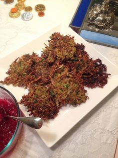 My favorite variation yet on latkes: Brussels sprouts and sweet potato latkes, spiced up with cumin and fresh cilantro and parsley. Jewish Recipes, Holiday Recipes, Great Recipes, Sweet Potato Latkes, Sprouting Sweet Potatoes, Brussels Sprouts, Cilantro, Spice Things Up, Jewish Food