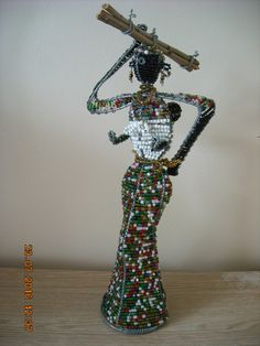 African Beaded Figure Doll 13 inches height