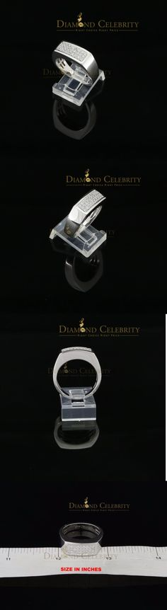 Rings 137856: 10K White Gold Finish Mens Silver Ring Size 9 With Lab Created Diamonds BUY IT NOW ONLY: $49.99