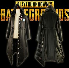 Game PUGB Playerunknown's Battlegrounds Cosplay Costume Halloween Carnival Long Sleeve Trench PU Leather Punk Coat Custom Made.  #cosplay_shopping #cosplay_suits_for_sale #male_cosplay #cosplay_men #best_cosplay_wigs #custom_cosplay #tobi_cosplay