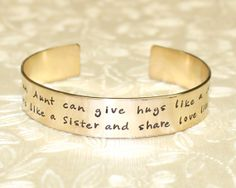 Aunt Gift - Only an Aunt can give hugs like a Mother... Custom Personalized Hand Stamped Brass Cuff Bracelet by Laiton Doux