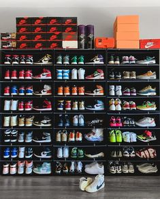 Over/Under 15 pairs in your collection? Shoe Room, Shoe Wall, Shoe Closet, Hype Shoes, All Nike Shoes, Kicks Shoes, Sneaker Storage, Sneakers Wallpaper, Jordan Shoes Wallpaper