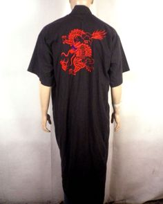 0244472210 vtg 60s 70s men s Black Red Embroidered Oriental Dragon Robe retro SS One  Size Men s Robes