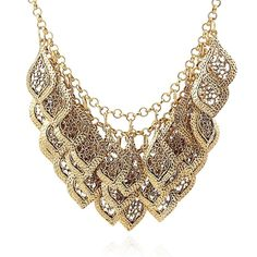 * Penny Deals * - Multi-storey Metal Leaf Explosion models exaggeration fashion retro false collar necklace -- Check out this great product.