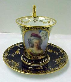 """Dresden Demitasse With Hand Painted Portrait Of """"Marie Antoinette"""", Signed By Artist """"Lamm 1887"""""""