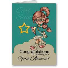 Girl Scout Gold Award Congratulations cute card