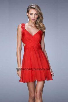 LF21834 V-neck Open Back Embroidered Straps Cocktail Dress Red