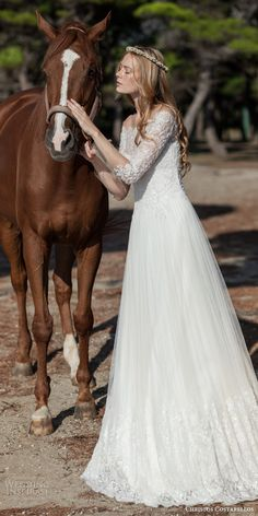 christos costarellos bridal spring 2016 gorgeous off the shoulder wedding dress long sleeves bead embellished bodice a line skirt