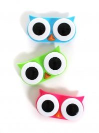 owl contact lens cases! I have the blue one! (:I'm so getting one...