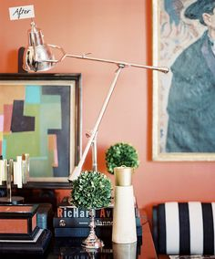 coral walls - Lonny Magazine--- home office color.