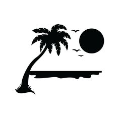 Beach Stencil Template for Walls and Crafts - Reusable Stencils for Painting in Small & Large Sizes Beach Silhouette, Silhouette Sign, Animal Silhouette, Beach Stencils, Stencil Painting, Father And Girl, Boat Decals, Black White Tattoos, Graffiti