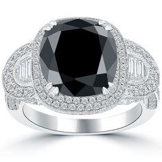 6.08 Carat Cushion Cut Natural Black Diamond Engagement Ring 14k Vintage Style #LioriDiamonds #DiamondEngagementRing