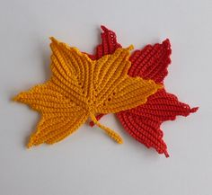 PDF pattern - Maple leaf motifs. Irish crochet. All five branches made without cutting thread. $1.67, via Etsy.