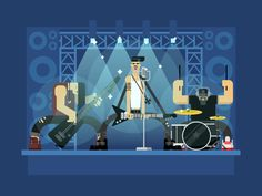 rock band concert guitar and musician musical instrument sound and performance stage and guitarist flat vector illustration Concert Stage Design, Zombie Cartoon, Album Cover Design, Rock Of Ages, People Illustration, Rock Concert, Animation, Rock Bands, Illustrations Posters