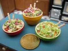 Handmade Dollshouse food by minicaretti. Salad. Miniature food.
