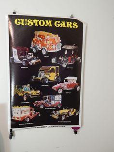 "Vintage 1977 George Barris Custom Cars Poster Rat Rod Hot 35""x23"""