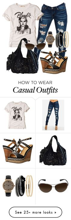 """Casual"" by alice-fortuna on Polyvore featuring belle by Sigerson Morrison, Mixit, Hollister Co., Valentino and Ray-Ban"