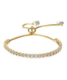 Swarovski® Crystal & Gold Adjustable Tennis Bracelet