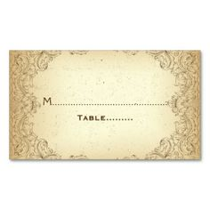 Floral wedding template   Brown floral vintage border wedding place card business card templates ...
