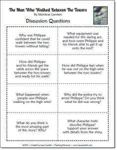 Free discussion questions to go with the book The Man Who Walked Between the Towers, a great read during the week before 9/11.