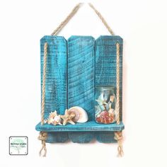 Rustic Wooden Pallet Shelf / Handcrafted Wood Beach Shelves /Blue Nautical Rope Wood Shelf /Shabby Teal Distressed Shelves / Reclaimed Wood by RiversideStudioON on Etsy https://www.etsy.com/listing/272979940/rustic-wooden-pallet-shelf-handcrafted