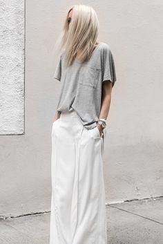 Oversized outfit in grey and white
