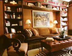 bookcases around sofa