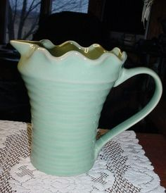 Turquoise shifting to avocado green - love vintage pottery