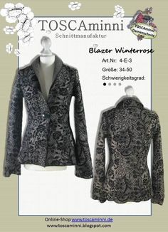 4E3 Ebook Blazer, Damenjacke Winterrose, Gr. 34-50 von TOSCAminni Schnittmuster & Ebooks auf DaWanda.com