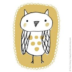 Little Owl  Print by HappyDoodleLand (Flora Chang) on Etsy, $20.00 -  I have this print and it makes me happy!
